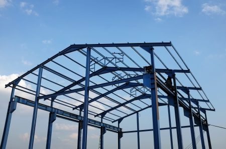 Photo for Steel structure of a new industrial building - Royalty Free Image