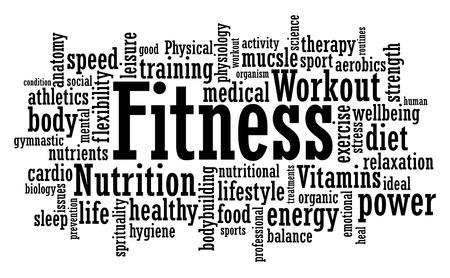 Ilustración de Fitness exercise training tag cloud vector illustration - Imagen libre de derechos