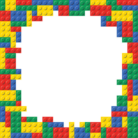 Illustration for Lego Building Blocks Brick Border Frame Background Pattern Texture template. - Royalty Free Image