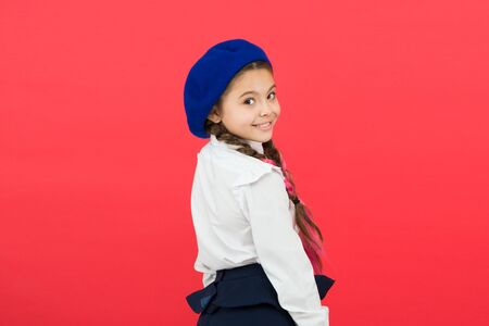 Photo for Schoolgirl wear formal school uniform and beret hat. - Royalty Free Image
