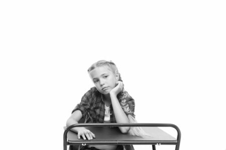 Photo pour Need some rest and entertainment. Boring lesson. Girl bored pupil sit at desk. Issues of formal education. Back to school concept. Kid cute tired of boring studying. Boring educational program - image libre de droit