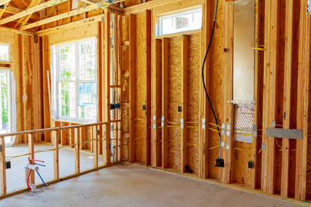 Photo for Unfinished Home Framed building or residential home Framing Interior - Royalty Free Image