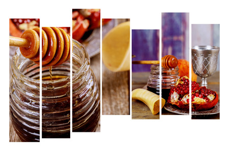 Photo pour Jewish holiday shofar, torah book, honey, apple and pomegranate Rosh Hashanah traditional holiday symbols. - image libre de droit