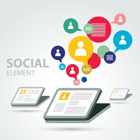 Ilustración de social icon group element - Imagen libre de derechos