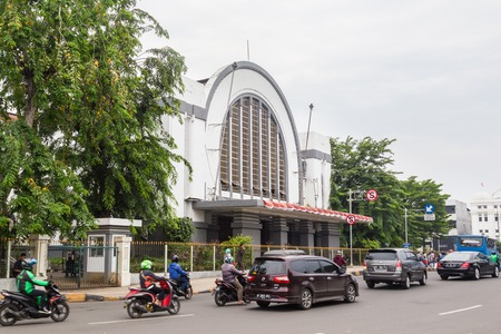 Foto per Jakarta, Indonesia - October, 28, 2017 Front view of the Jakarta Kota Station, Jakarta Indonesia - Immagine Royalty Free