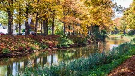 Photo for Autumn colors along the  Apeldoornse channel near Eerbeek in Gelderland, Netherlands - Royalty Free Image