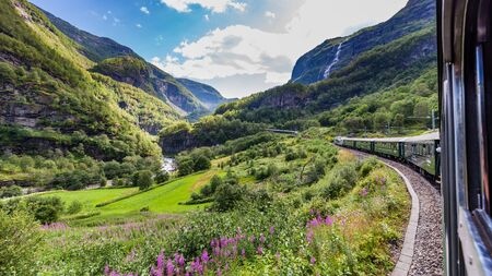Photo pour View from the most beautiful train journey Flamsbana between Flam and Myrdal in Aurland in Western Norway - image libre de droit