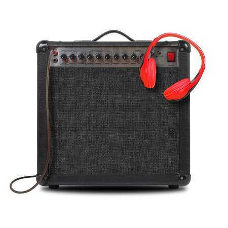 Photo for Music and sound - Musical instrument Guitar amplifier,  headphone and cable front view isolated on a white background. - Royalty Free Image