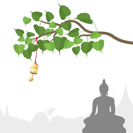Illustration for Buddha statue and Bodhi tree with Golden bell of thai tradition - Royalty Free Image