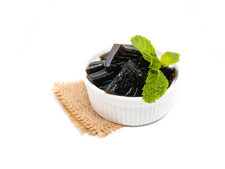 Photo for Grass jelly (Mesona chinensis), vegetable jelly on isolate white background - Royalty Free Image