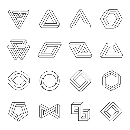 Illustration pour Set of impossible shapes. Optical Illusion. Vector Illustration isolated on white - image libre de droit