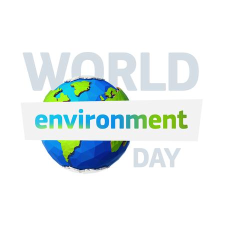 Illustration pour World environment day. Earth day banner. Low poly Illustration of a earth. Environment safety celebration. - image libre de droit