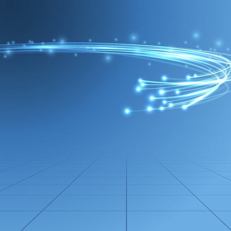 Illustration pour Cable bandwidth flaring electric background illustrating fiber optics bandwidth traffic line over blue background. - image libre de droit