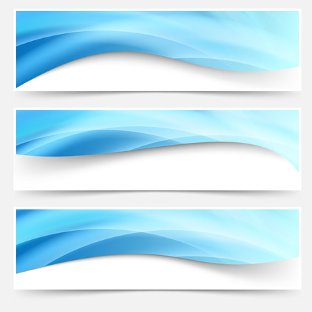 Photo pour Blue light line headers footers collection set swoosh liquid smoke mesh trail. Vector illustration - image libre de droit