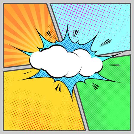 Illustration pour Comic pop-art humorous page style template - cartoon book design. Vector illustration - image libre de droit