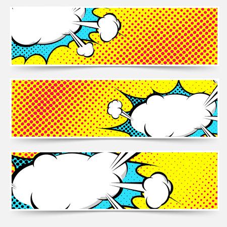 Illustration pour Yellow background pop-art explosion bubble set - comics book dotted web header or footer. Vector illustration - image libre de droit