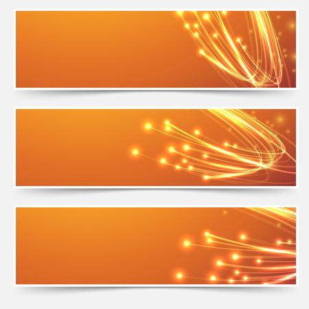 Illustration pour Bright cable bandwidth speed swoosh header - fiber optic broadband internet electricity flow. Vector illustration - image libre de droit