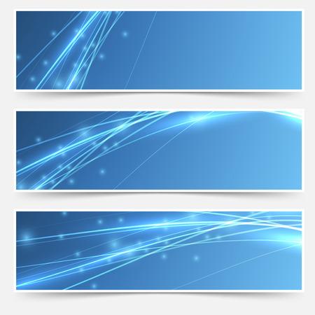Illustration pour Speed swoosh electric wave lines header set. Vector illustration - image libre de droit