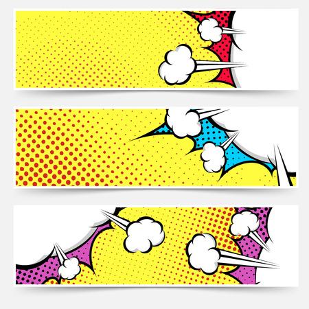 Ilustración de Pop art comic book yellow header collection - dotted web footer explosion bubble set background. Vector illustration - Imagen libre de derechos