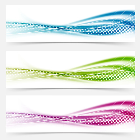 Illustration pour Modern abstract swoosh smooth vivid dotted line headers collection. Vector illustration - image libre de droit