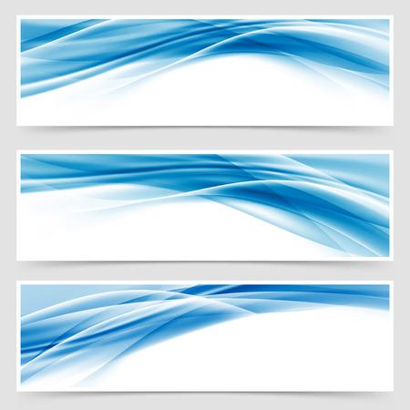 Illustration pour Beautiful hi-tech blue header footer swoosh collection web modern abstract transparent border layout. Vector illustration - image libre de droit