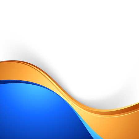 Ilustración de Bright swoosh border abstract blue gold background.  - Imagen libre de derechos