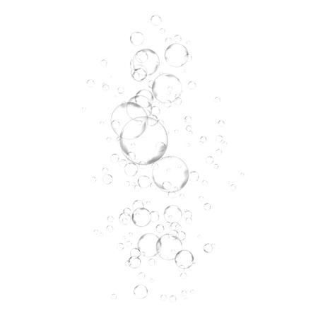 Ilustración de Fuzzy air in the water - abstract bubble background layout. Transparent isolated gas effect over white. Vector illustration  - Imagen libre de derechos