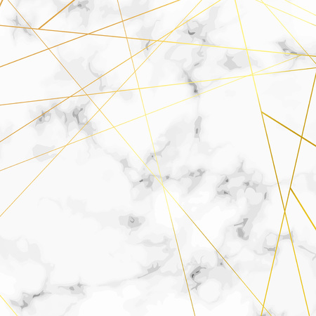 Illustration for Golden triangle pattern metallic lines over marble stone background. Vector illustration - Royalty Free Image
