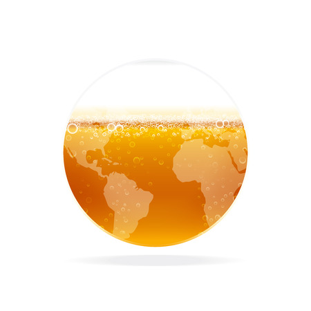 Illustration pour Beer with foam, bubbles in glass globe. Vector illustration for internationalbeer day. - image libre de droit