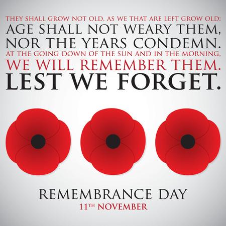 Illustration pour Remembrance Day card in vector format. - image libre de droit