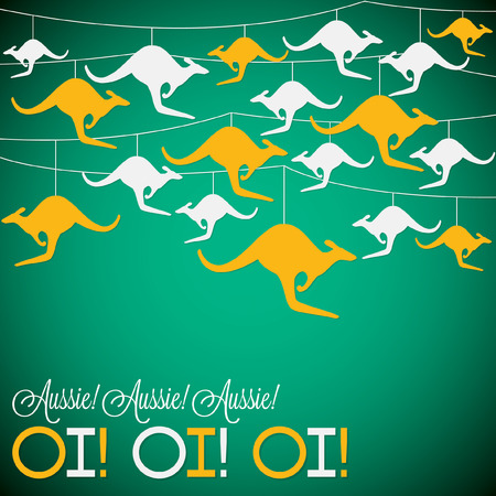 Illustration for Kangaroo ornament Australia day Card in vector format. - Royalty Free Image