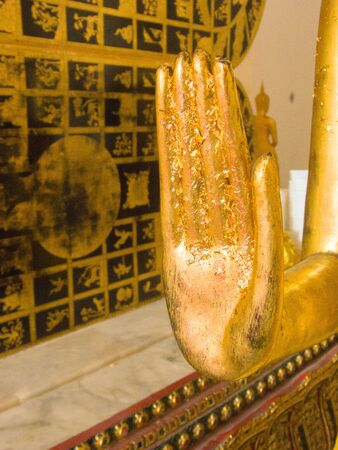 the standing position of the Buddha Image holding out both hands in front