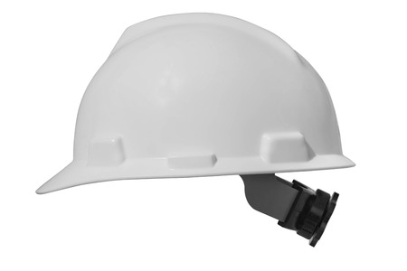 Foto de White hard hat for protect head isolate on white background with clipping path. - Imagen libre de derechos