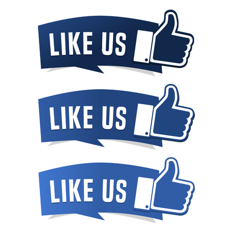 Illustrazione per Like us thumb up button - Immagini Royalty Free
