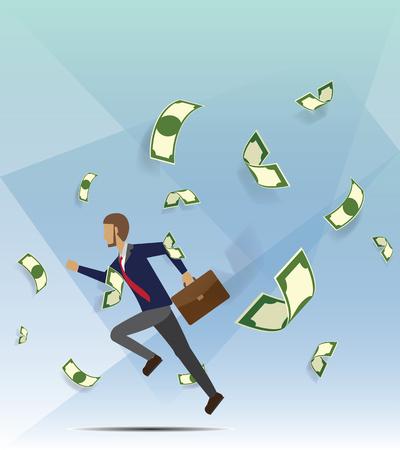 Men running among a lot of money vector illustration