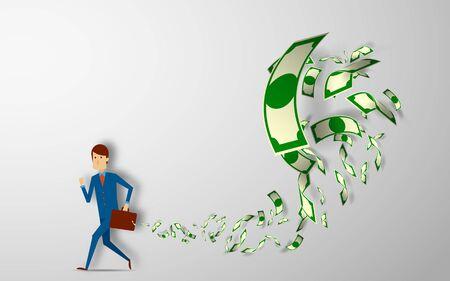 Ilustración de businessman running away with briefcase full of money banknotes fly away vector illustration - Imagen libre de derechos