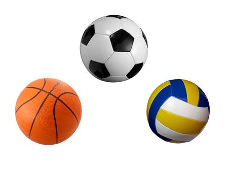 closeup of soccer, baskey and volley ball on white background. each one is a separate picture in full cameras resolution