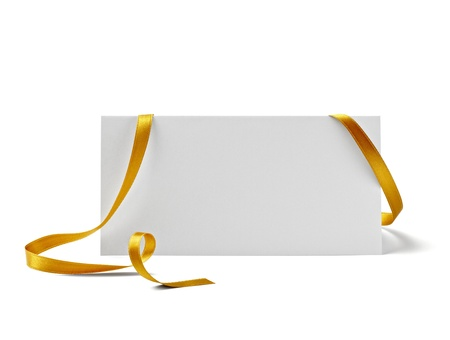 close up of  card note with  ribbon on white background