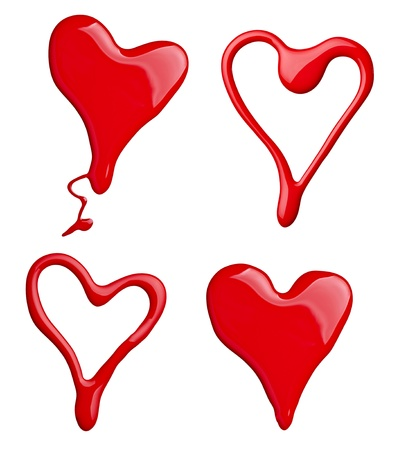 Foto de collection of red paint and nail polish heart shapes on white background. each one is shot separately - Imagen libre de derechos