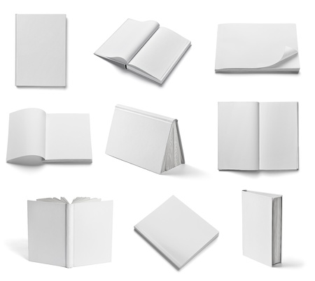 Photo pour collection of various  blank white  books on white background  each one is shot separately - image libre de droit