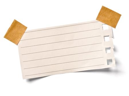 Photo pour close up of a vintage note paper on white background - image libre de droit