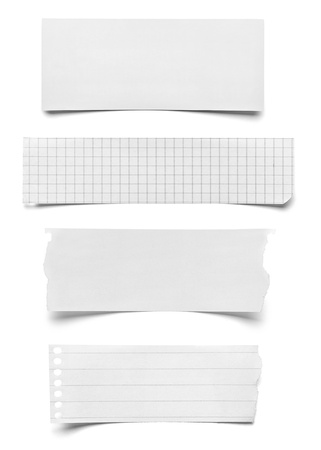 Photo pour collection of various pieces of note paper on white background  each one is shot separately - image libre de droit