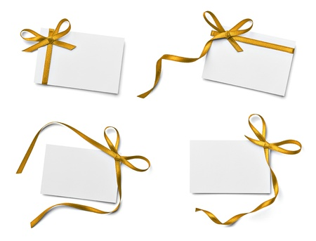 Photo pour collection of various note card with ribbon bow on white background. each one is shot separately - image libre de droit