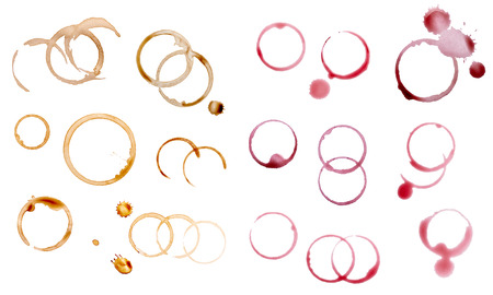 Foto de collection of various coffee and wine stains on white background   - Imagen libre de derechos