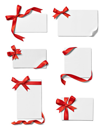 Photo for collection of various note card with ribbon bow on white each one is shot separately - Royalty Free Image