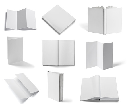 Photo for collection of various  blank white paper and book on white background  each one is shot separately - Royalty Free Image