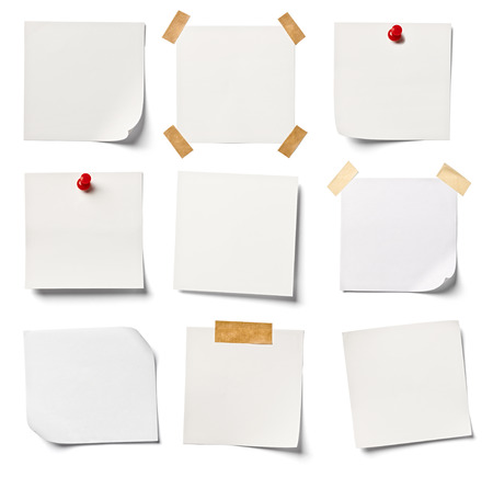 Foto de collection of  various white note papers on white background  each one is shot separately - Imagen libre de derechos