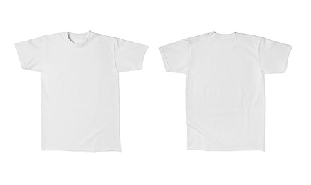 Photo for close up of  a white t shirt template front and back on white background  each one is shot separately - Royalty Free Image