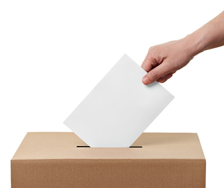 Photo pour close up of  a ballot box and casting vote on white background - image libre de droit