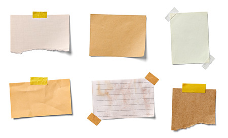 Photo for collection of  various vintage note papers on white background. each one is shot separately - Royalty Free Image
